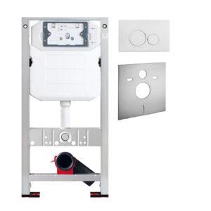 Wand-WC Set Twister Flush komplett<br>inkl. Burda WC-Montageelement mit <br>UP-Spülkasten Pur <br>+ Betätigungsplatte